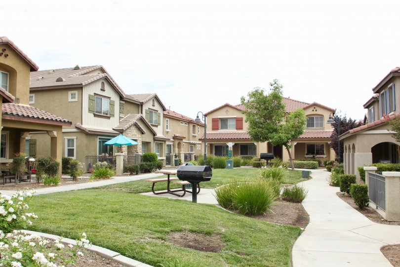 Variety of town houses on an overcast day with grill and picnic table at center