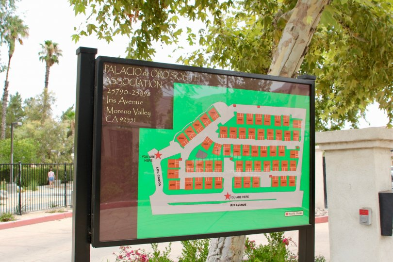 A map shows visitors the lay out of the complex at Palacio De Oro South.