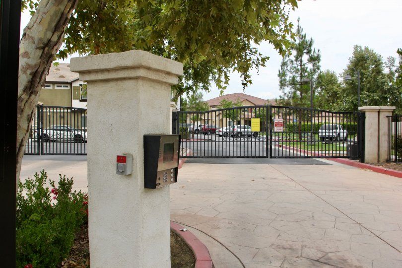 Gated entryway at Palacio De Oro South in Moreno Valley California