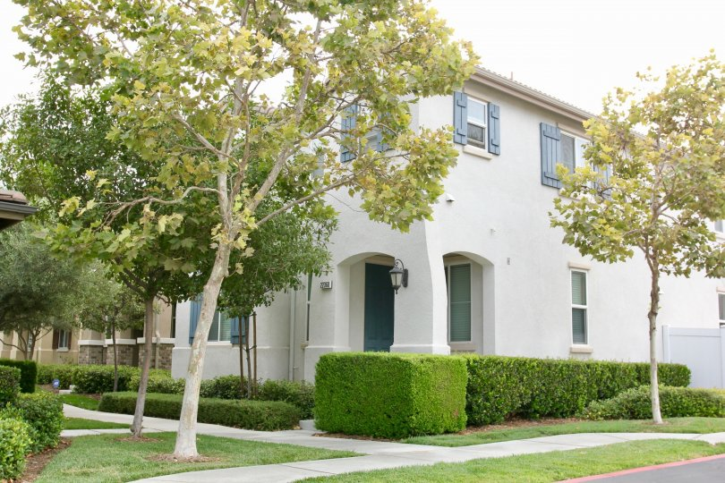 European beauty with grown in trees and trimmed privet hedges at this Parkside at Towngate condo in Moreno Valley, CA