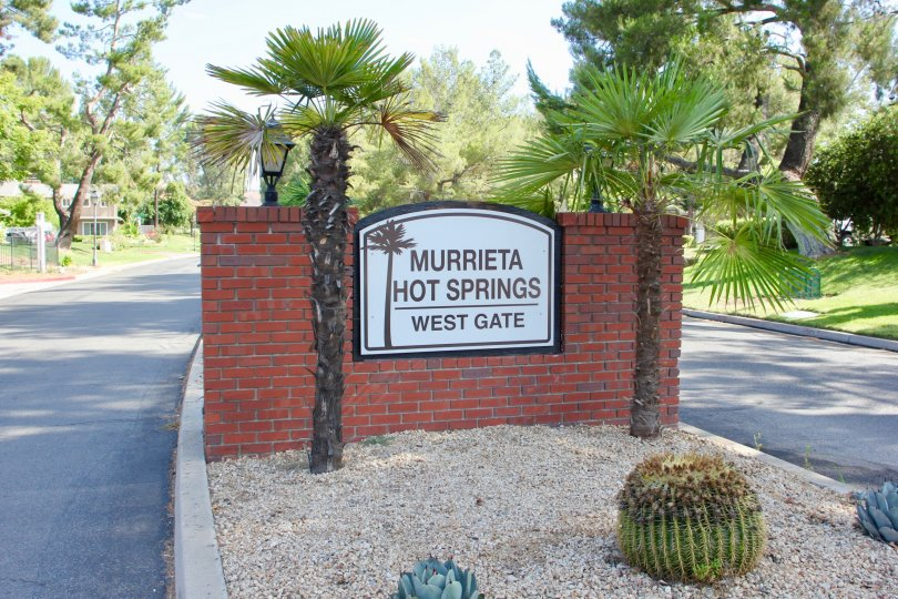A sunny day at the entrance to Murrieta Hot Springs West Gate