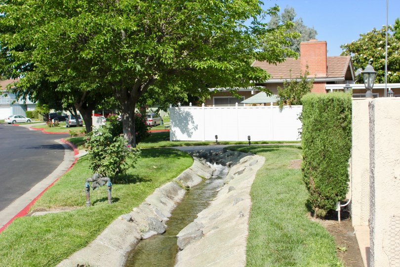 A canal runs through a trench at the Arroyo Viejo community.