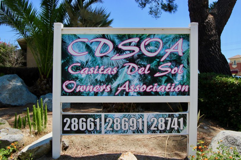 A mural of palm tree sits behind lettering on a sign in Casitas Del Sol community.