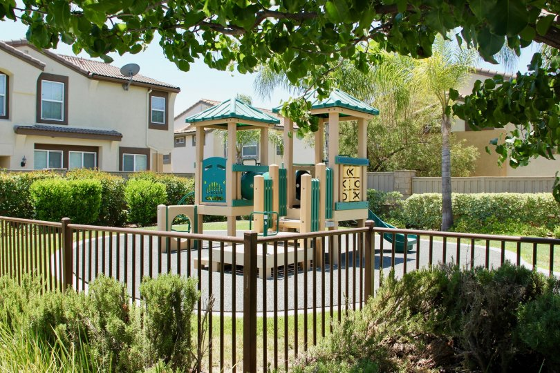 Sunny day showing playground equipment in Murrietta California