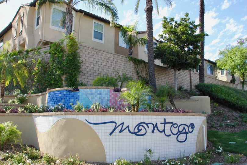 house is built on layer wise there is a graffiti sign symbol montego placed on wall