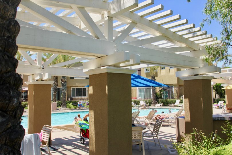 A classic view of the swimming pool facility at North Oaks Community, Murrieta, California