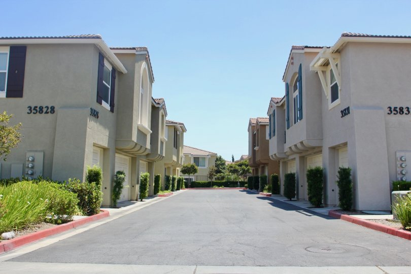 the drive to townhomes in the North Oaks Communty on a warm sunny day.