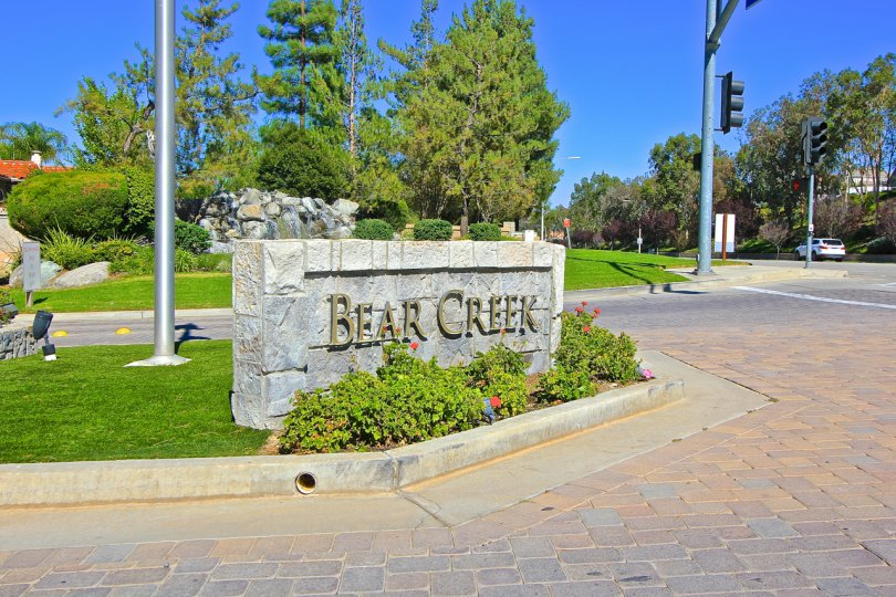 Entrance sign at Oaktree at Bear Creek, Murrieta, California