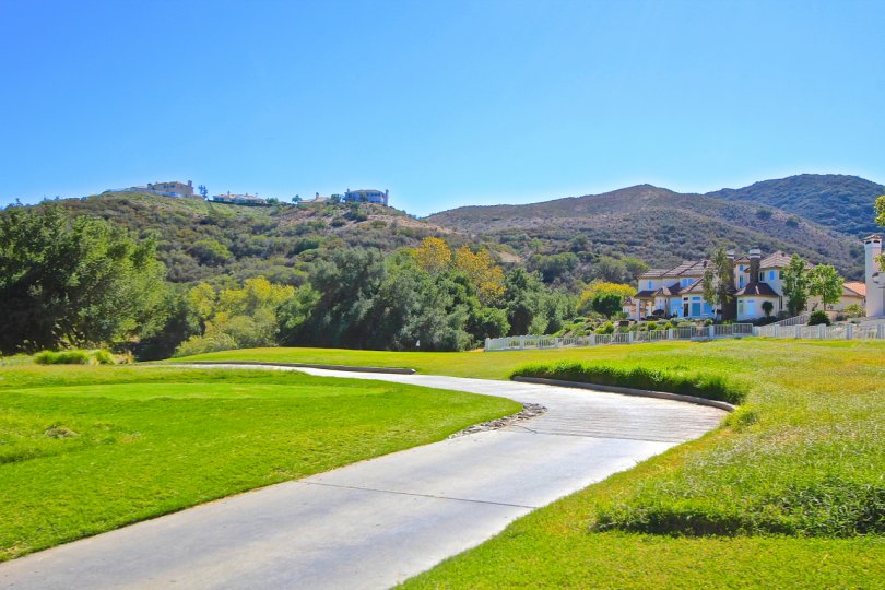 Rolling hill with bright green pasture in Murrieta, California