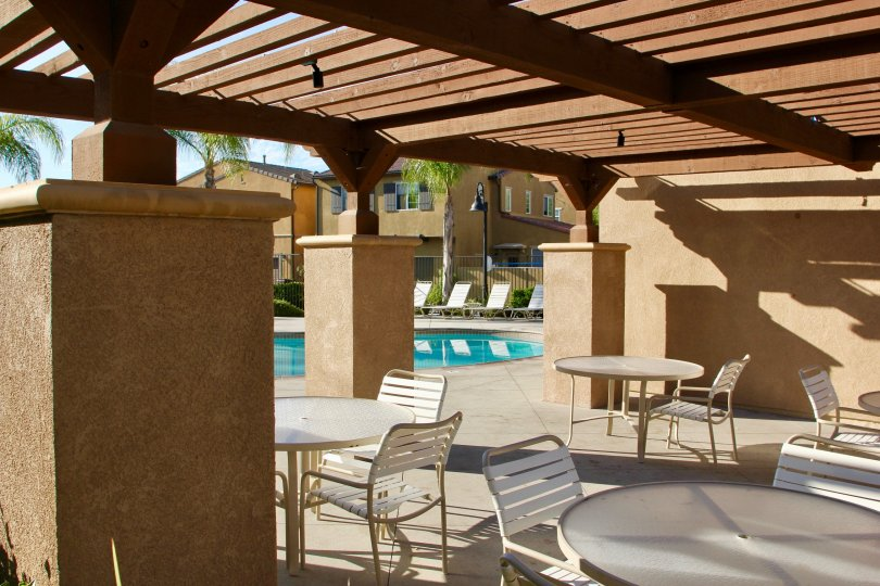 Pool side dining on a sunny day at Paseos in Crown Valley, Murrieta, California