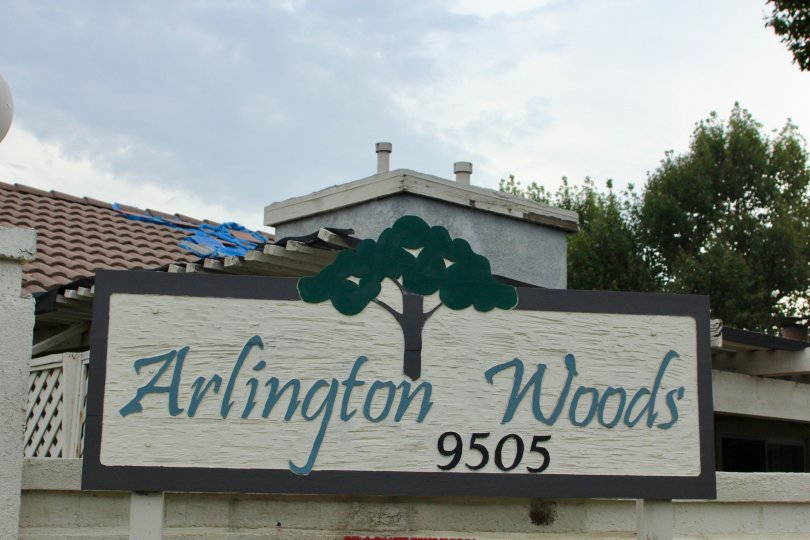 Welcome signage of Arlington Woods community, Riverside, Calfornia