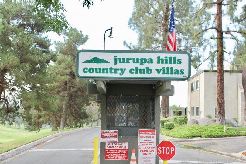 Entrance signage to Jurupa Hills Country Club facility, riverside, california