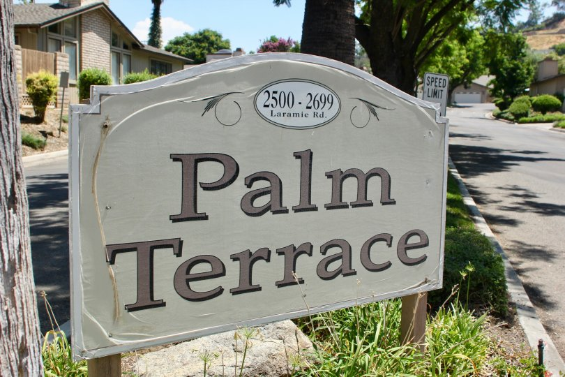 Palm Terrace riverside California big size name board so light view in the house brown color house