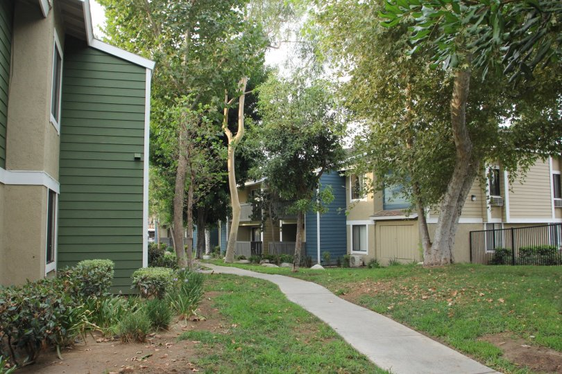 A secluded walkway around colorful wooden housing in the River Oaks community.