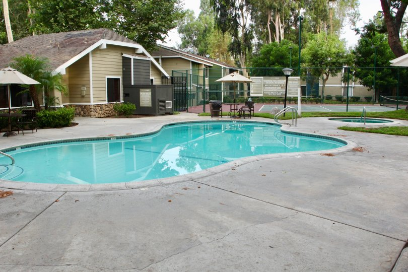 River Oaks amazingly green neighborhood swimming pool, Riverside, California