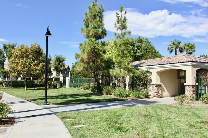Private entrance to community pool with privacy fence, outside lighting and green space, in close proximity to housing.