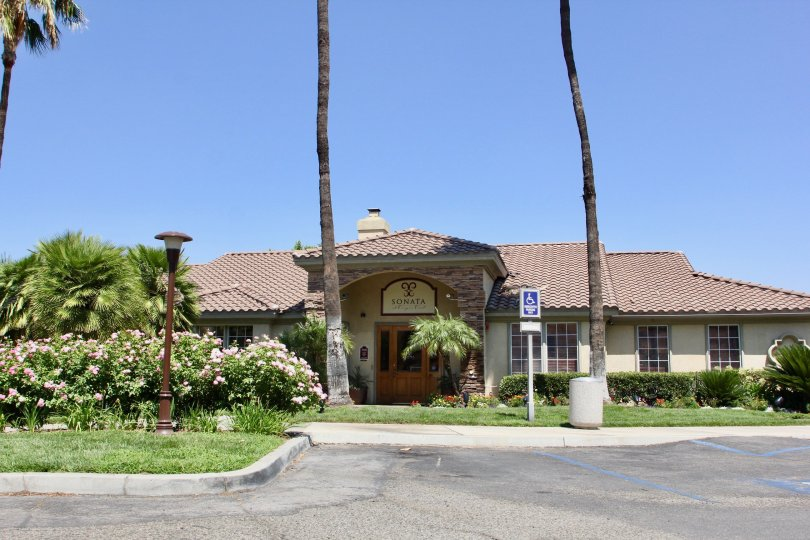 Front view of a bungalow at Sonata at Canyon Crest with it's amazingly beautiful surroundings, Riverside, California
