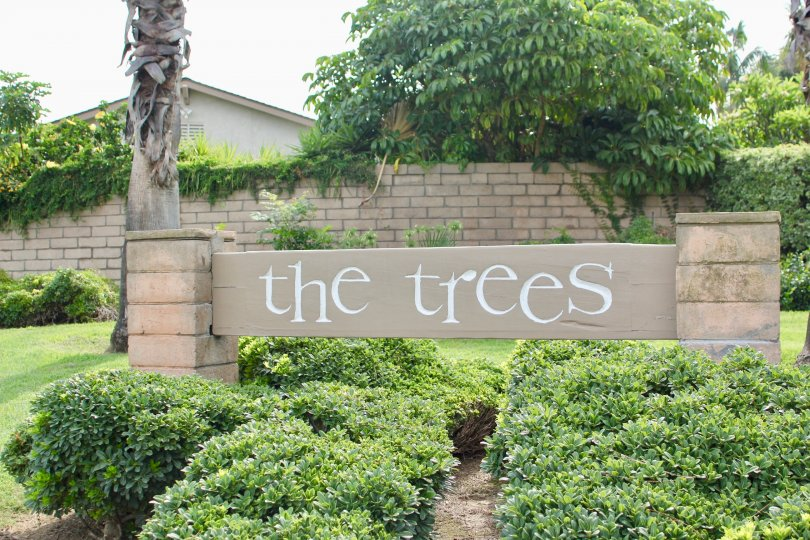 Entrance signage to the trees community, Riverside, California