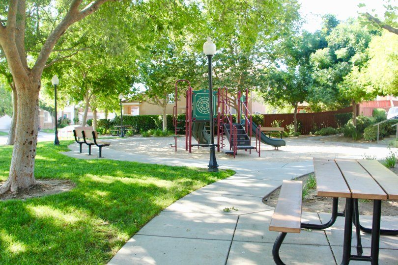 A shaded children's playground with park benches in Laurel Creek