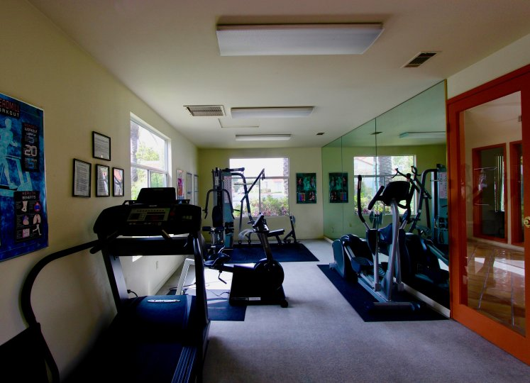 Home gym with large windows, mirrored wall, exercise equipment galore