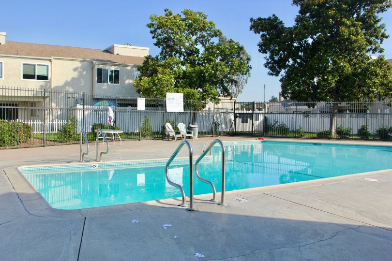 The cozy and warm pool that is found at the Rancho Meadows community.