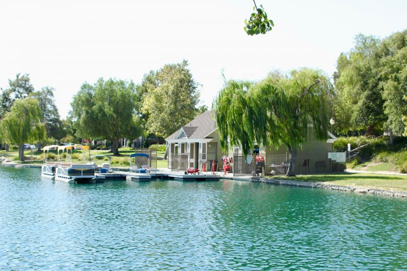 beautiful landscape in front of house and there is a water and boat in front
