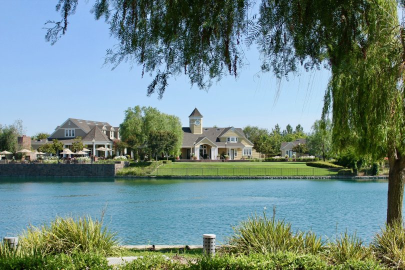 Waterfront view on a beautiful day in the Savannah at Harveston community in Temecula, CA.