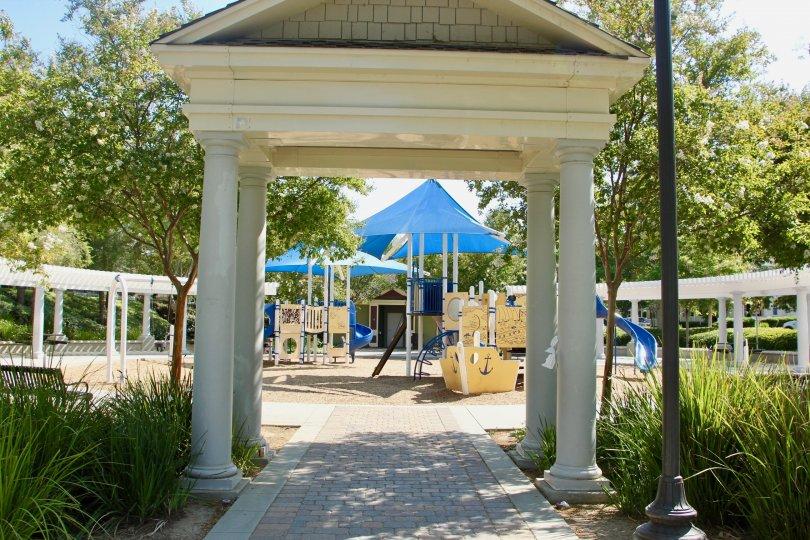 Beautiful entrance to event space of Savannah at Harveston community, temecula, California