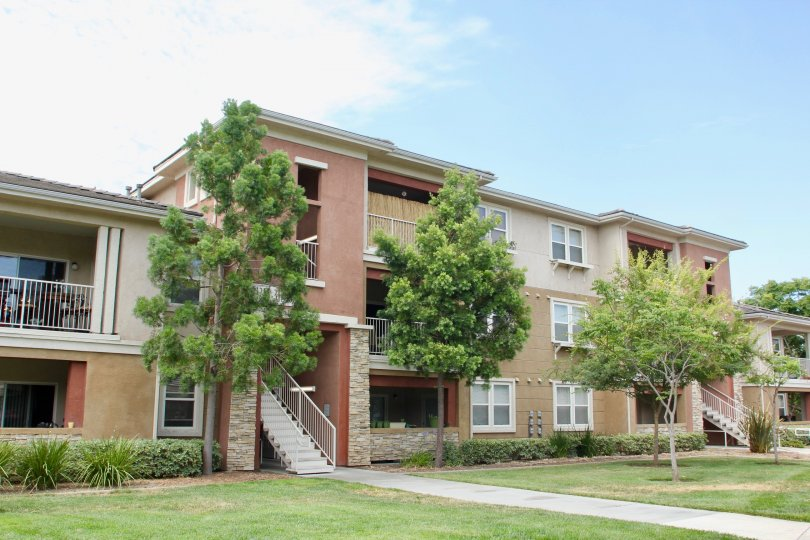A sunny day at a apartment building in Temecula California with green trees in the mid of summer.
