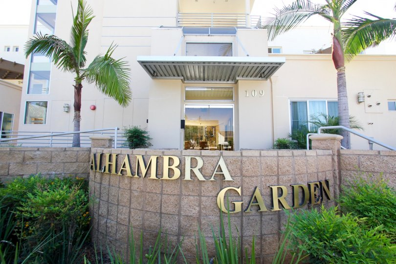 The name of the Alhambra Garden upon entering the property