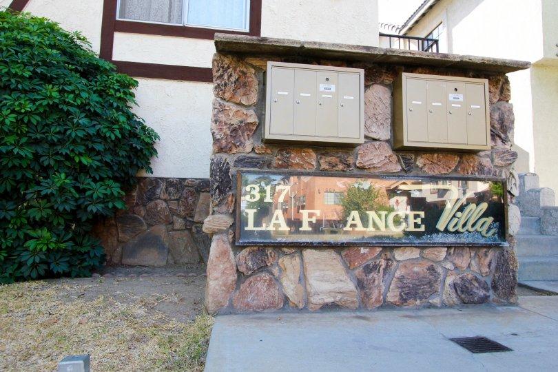 The sign announcing La France Villa in Alhambra California