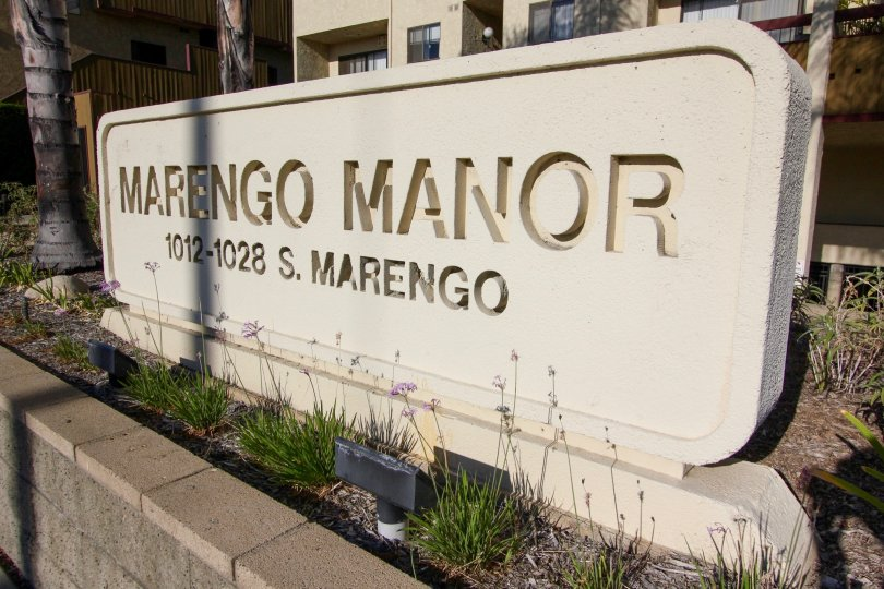The welcoming sign at the Marengo Manor in Alhambra California