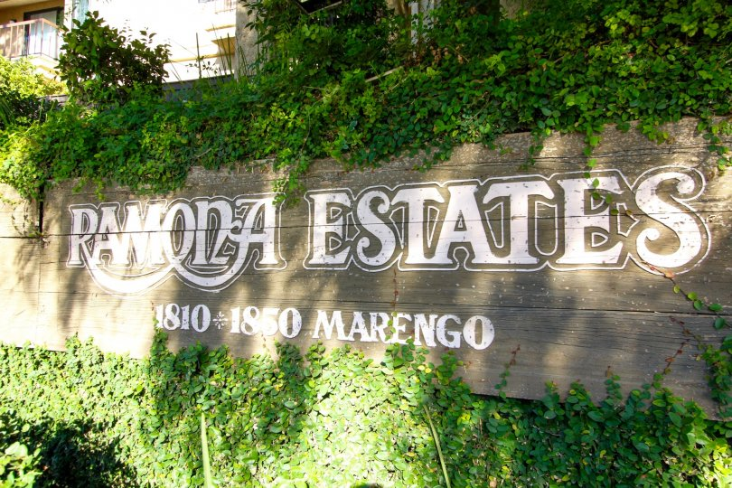 The welcoming sign into Ramona Estates in Alhambra California