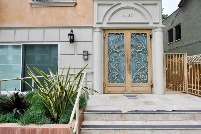 The front door and walkway at 8420 Blackburn in Beverly Center, California