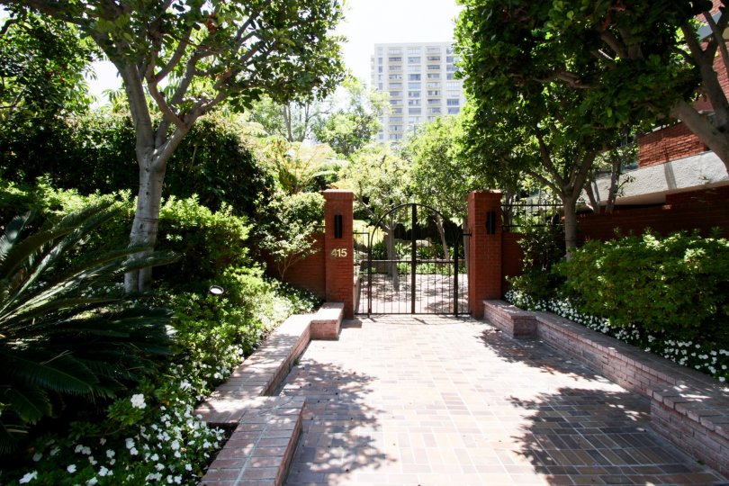 The gated entrance into Enville in Beverly Hills