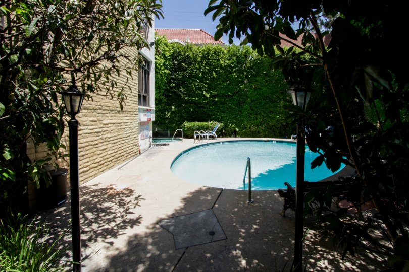 The pool at the Foxhall in Beverly Hills