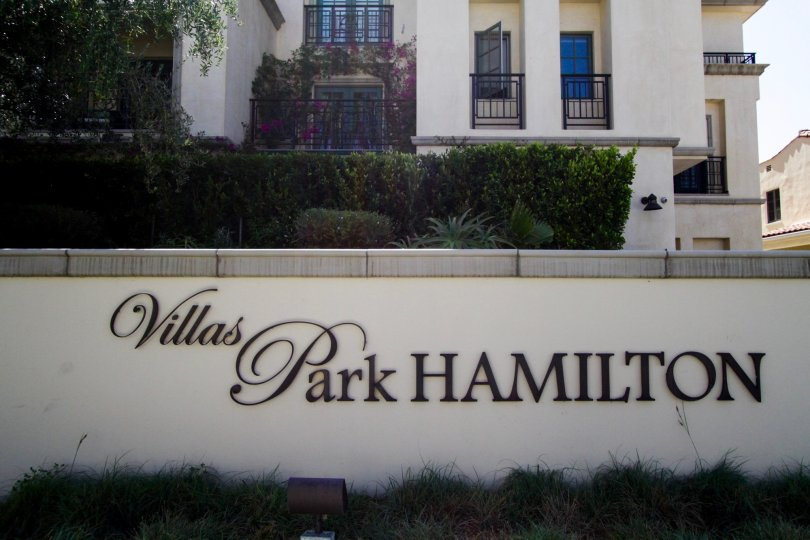 The sign introducing the Villa Hamilton  Park in Beverly Hills