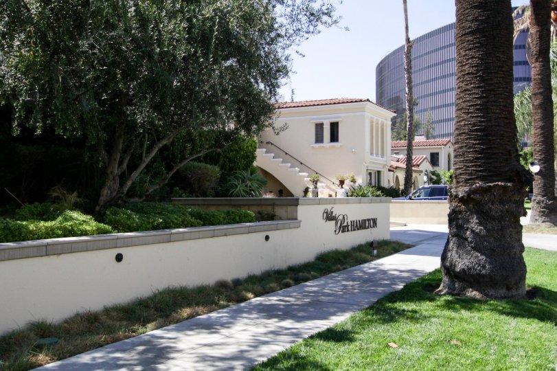 The sidewalk around the Villa Hamilton Park