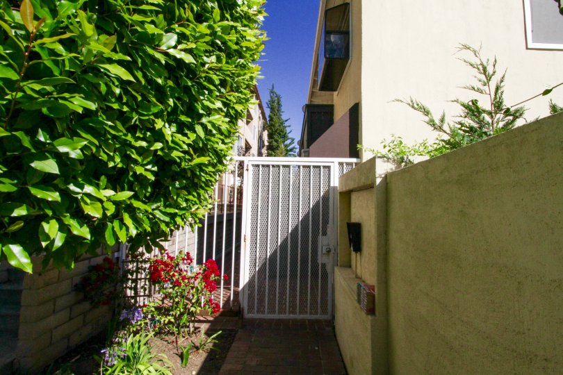 A metal gate offers security to the 11634 Gorham residents