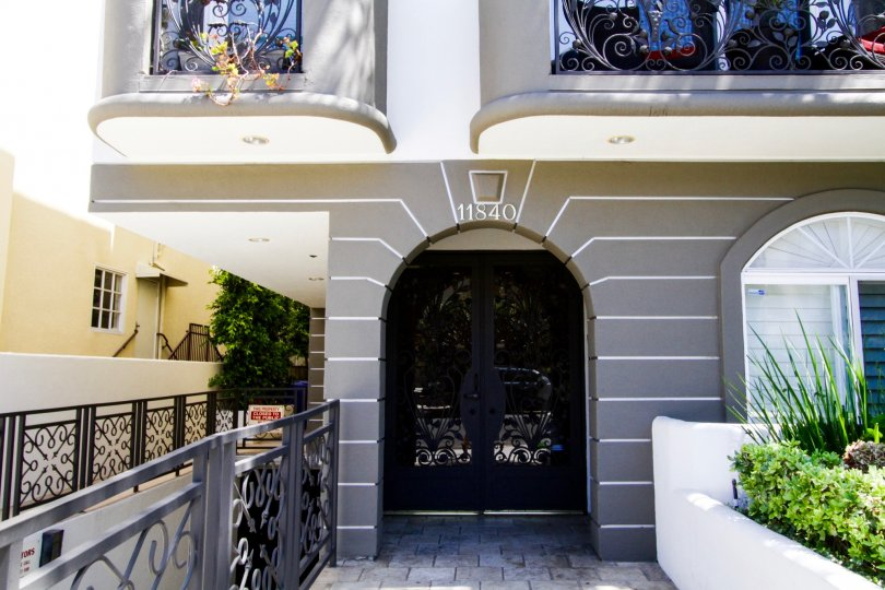 Entry to the Bellagio Villas condos through a beautiful wrought iron door