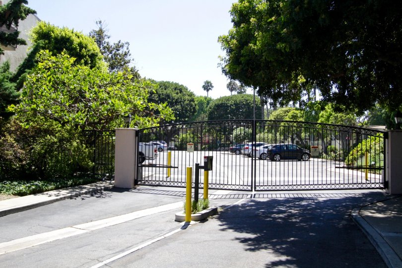 Gated car entrance to Brentwood Sunset