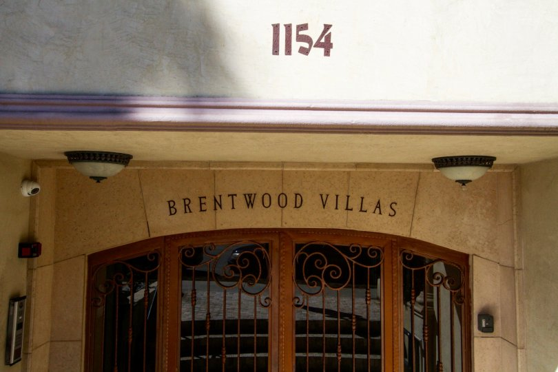 Marquee above the entry to Brentwood Villas