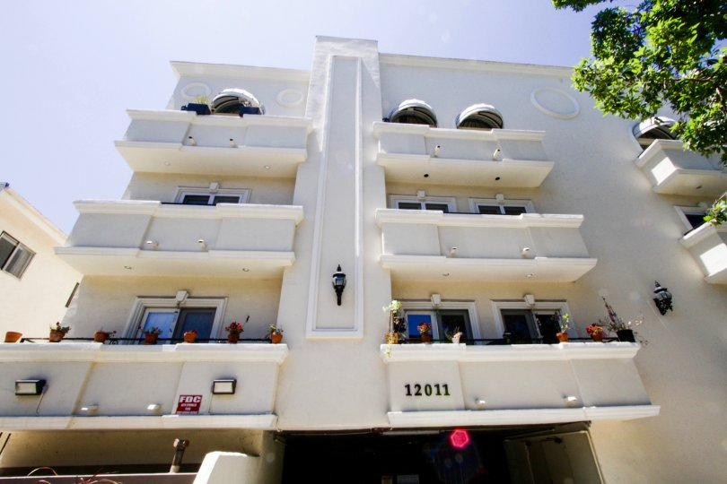 Balconies wrap around the upper levels of Del Cielo