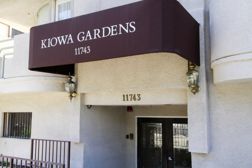 The Kiowa Gardens marquee atop the entry canopy
