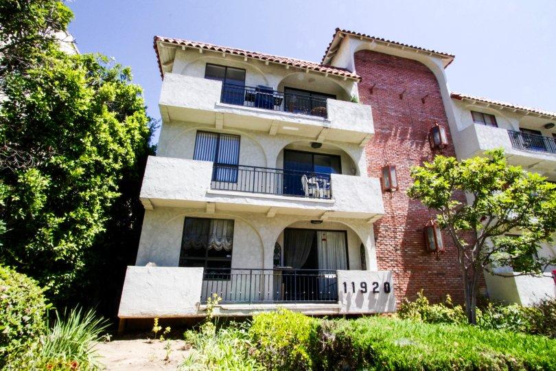 Balconies extending from the Las Leonas building