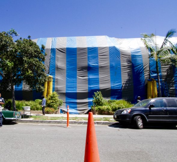 Las Montanas has been tented for fumigation