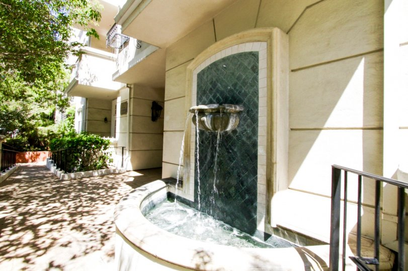 Wall mountain fountain at Montana Villas condos
