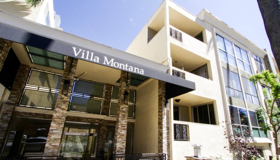 The Villa Montana marquee stands atop the entry canopy