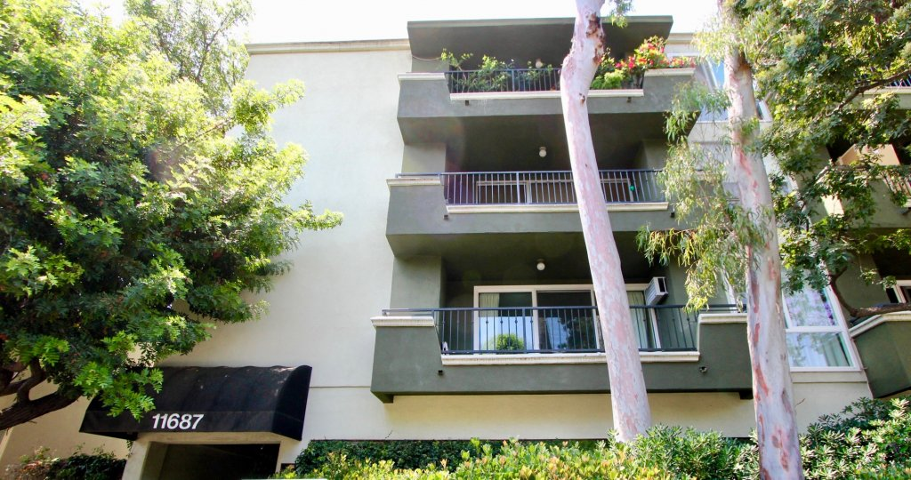 a view of three Coral Tree apartment balconies in Brentwood, California