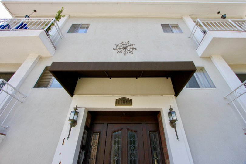 Large front entry and patios on a manor House in Brentwood, California.